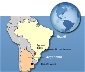 where are the iguazu falls located on a map